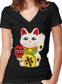 Maneki neko f u Women's Fitted V-Neck T-Shirt