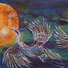 FULL MOON FLYING HERONS by eoconnor