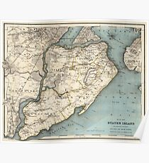 Vintage Map of Staten Island NY (1896) Poster