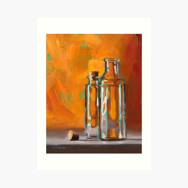 Bottles With Turquoise Art Print