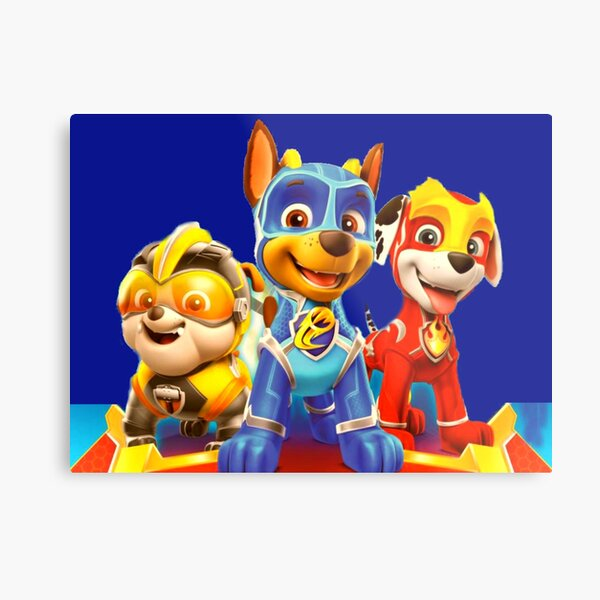 Paw Patrol Mighty Pups characters Metal Print