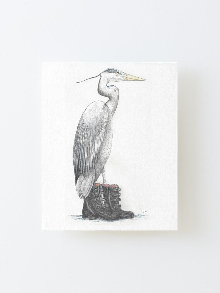 Alternate view of Great blue heron in galoshes Mounted Print