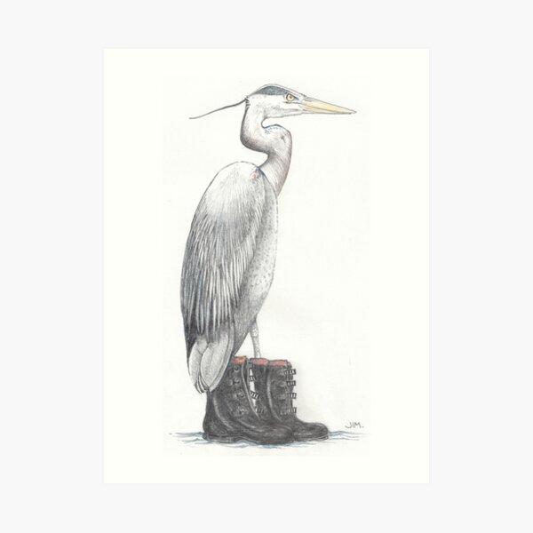 Great blue heron in galoshes Art Print