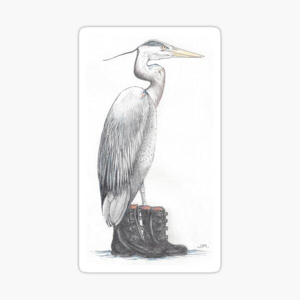 Great blue heron in galoshes Sticker