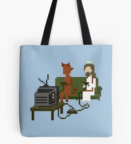 Jesus And Devil Playing Video Games Pixel Art Tote Bag