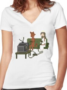 Jesus And Devil Playing Video Games Pixel Art Women's Fitted V-Neck T-Shirt
