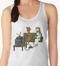 Jesus And Devil Playing Video Games Pixel Art Women's Tank Top