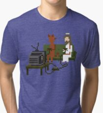 Jesus And Devil Playing Video Games Pixel Art Tri-blend T-Shirt
