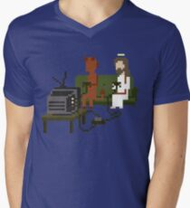Jesus And Devil Playing Video Games Pixel Art Men's V-Neck T-Shirt