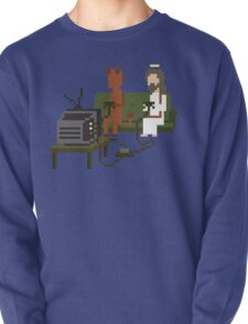 Jesus And Devil Playing Video Games Pixel Art Pullover