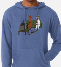Jesus And Devil Playing Video Games Pixel Art Lightweight Hoodie