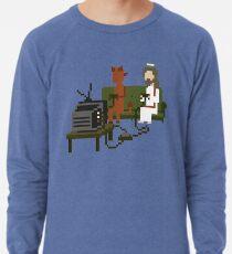 Jesus And Devil Playing Video Games Pixel Art Lightweight Sweatshirt