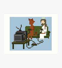 Jesus And Devil Playing Video Games Pixel Art Art Print