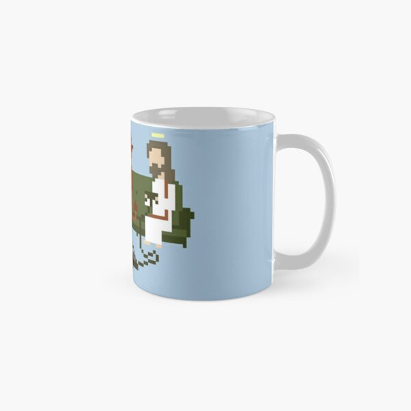 Jesus And Devil Playing Video Games Pixel Art Classic Mug