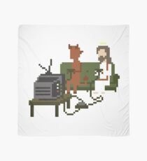 Jesus And Devil Playing Video Games Pixel Art Scarf
