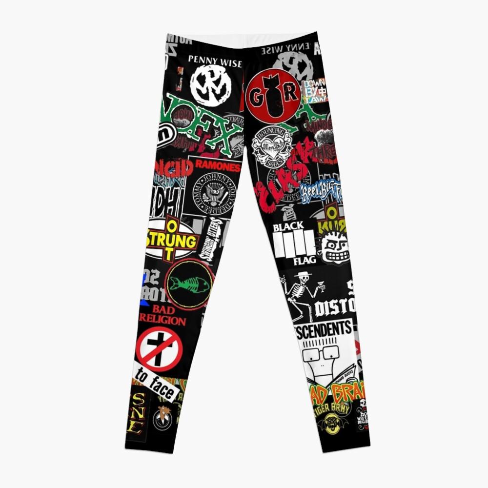 Punkrock-Aufkleberwand Leggings