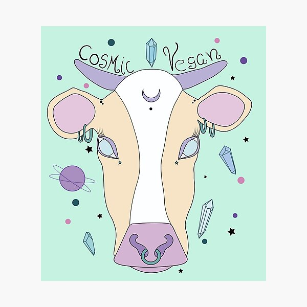 Cosmic Vegan Cow. Photographic Print