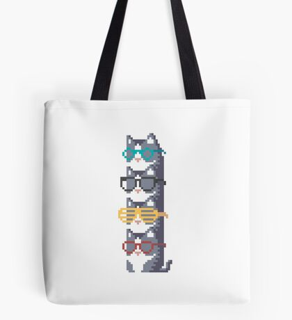 Cats In Glasses Pile Pixel Art Tote Bag