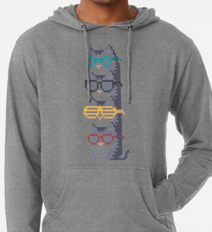 Cats In Glasses Pile Pixel Art Lightweight Hoodie