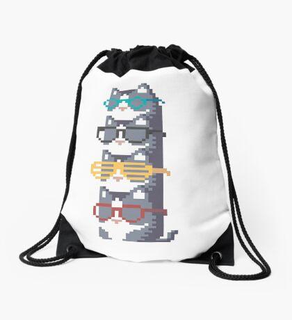 Cats In Glasses Pile Pixel Art Drawstring Bag