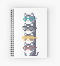 Cats In Glasses Pile Pixel Art Spiral Notebook