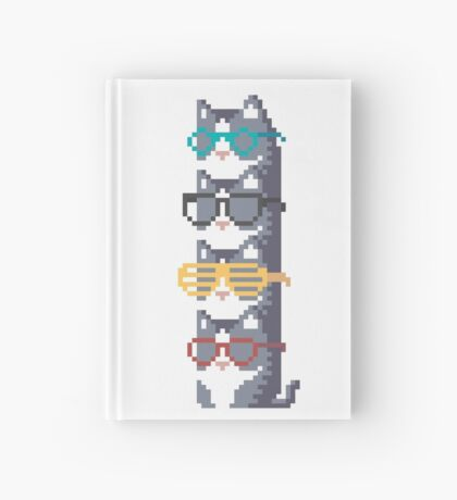 Cats In Glasses Pile Pixel Art Hardcover Journal
