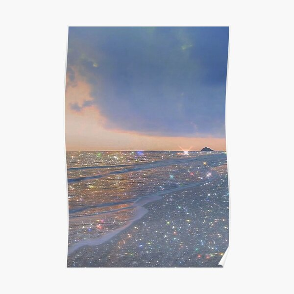 sparkly ocean vintage aesthetic Poster