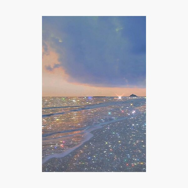 sparkly ocean vintage aesthetic Photographic Print