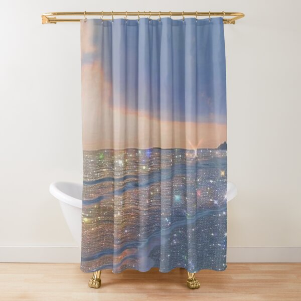 sparkly ocean vintage aesthetic Shower Curtain