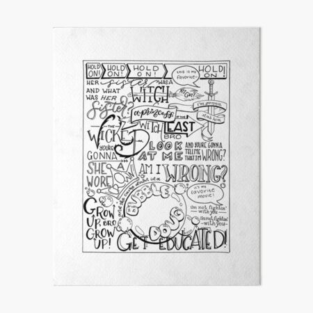 The Wicked Witch of the East Bro Hand Lettered Art Board Print