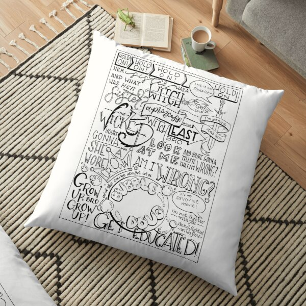 The Wicked Witch of the East Bro Hand Lettered Floor Pillow