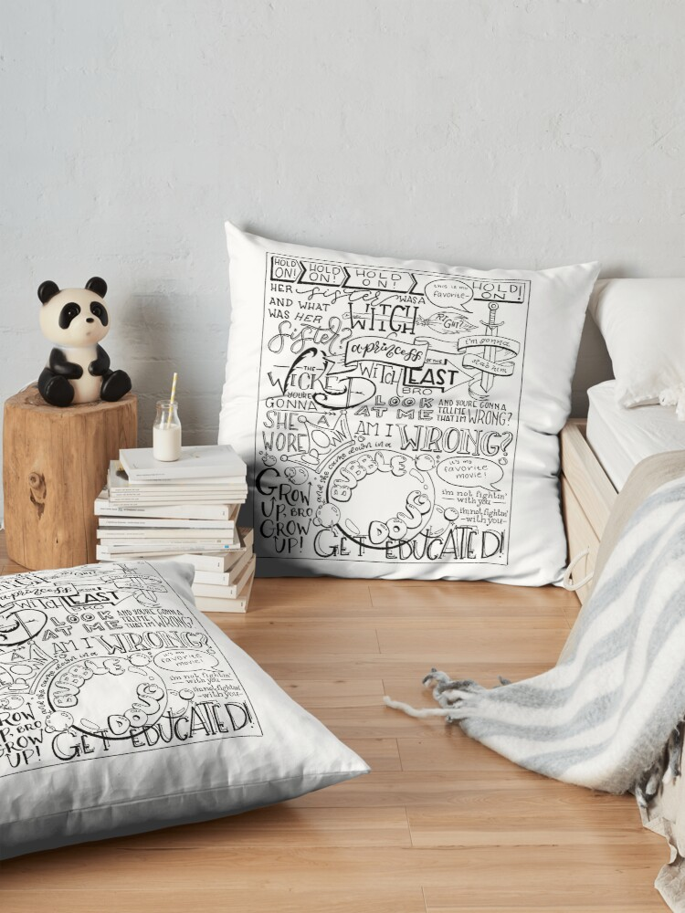 Alternate view of The Wicked Witch of the East Bro Hand Lettered Floor Pillow