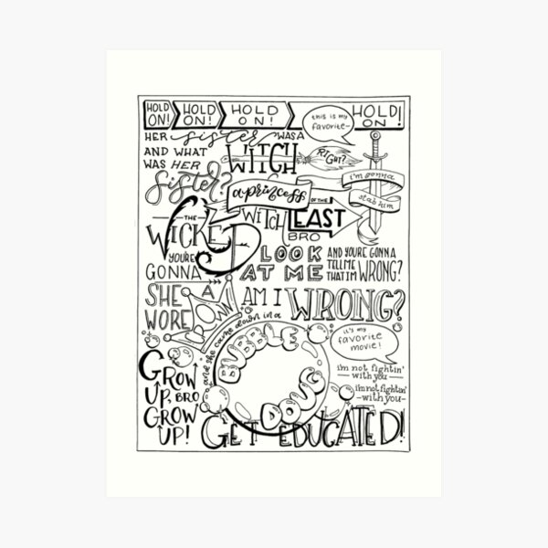The Wicked Witch of the East Bro Hand Lettered Art Print