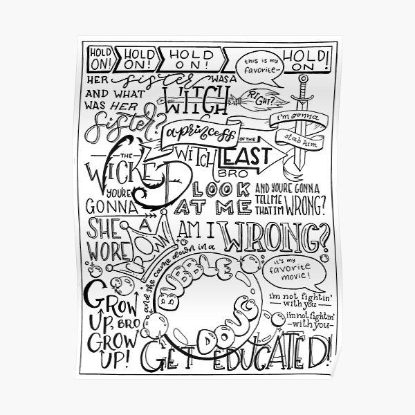 The Wicked Witch of the East Bro Hand Lettered Poster