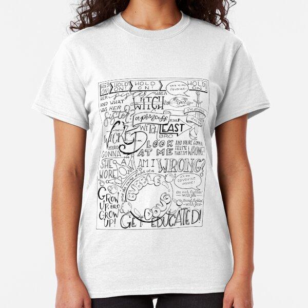 La bruja malvada del este Bro con letras a mano Camiseta clásica