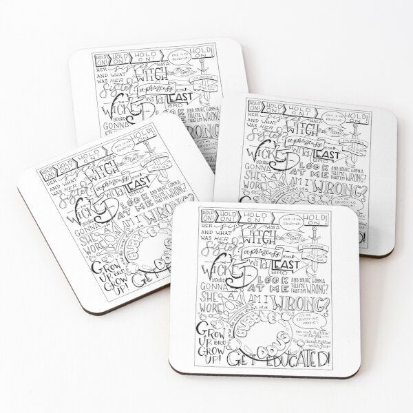 The Wicked Witch of the East Bro Hand Lettered Coasters (Set of 4)