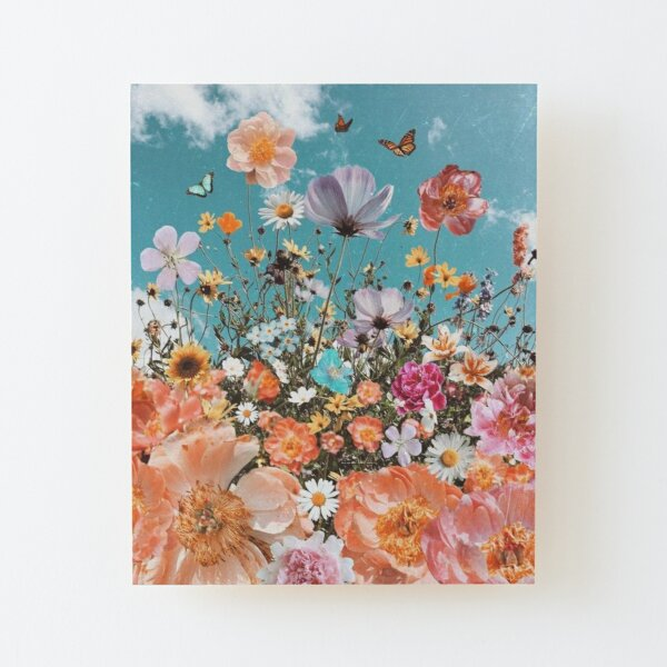 colorful flowers and butterflies Wood Mounted Print