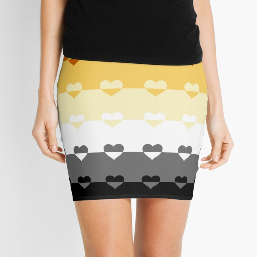 LGBTQ Flag with Hearts v1 - Bear Mini Skirt