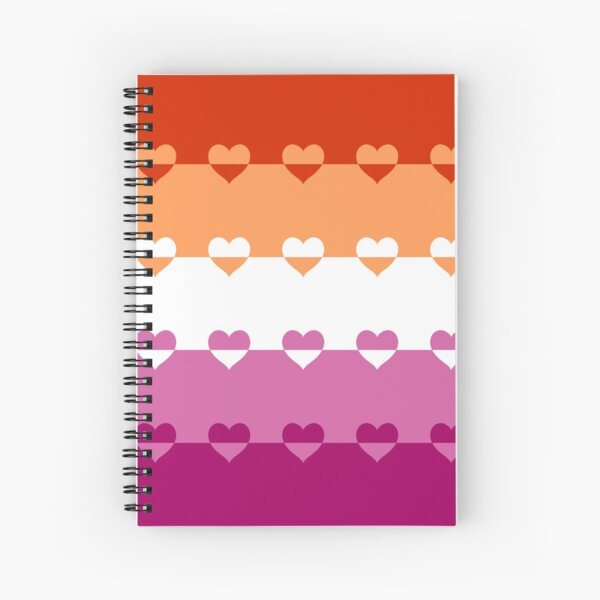 LGBTQ Flag with Hearts v1 - Lesbian Spiral Notebook