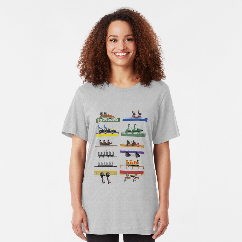 Six Flags Great Adventure Coaster Cars Design (With Jersey Devil) Slim Fit T-Shirt