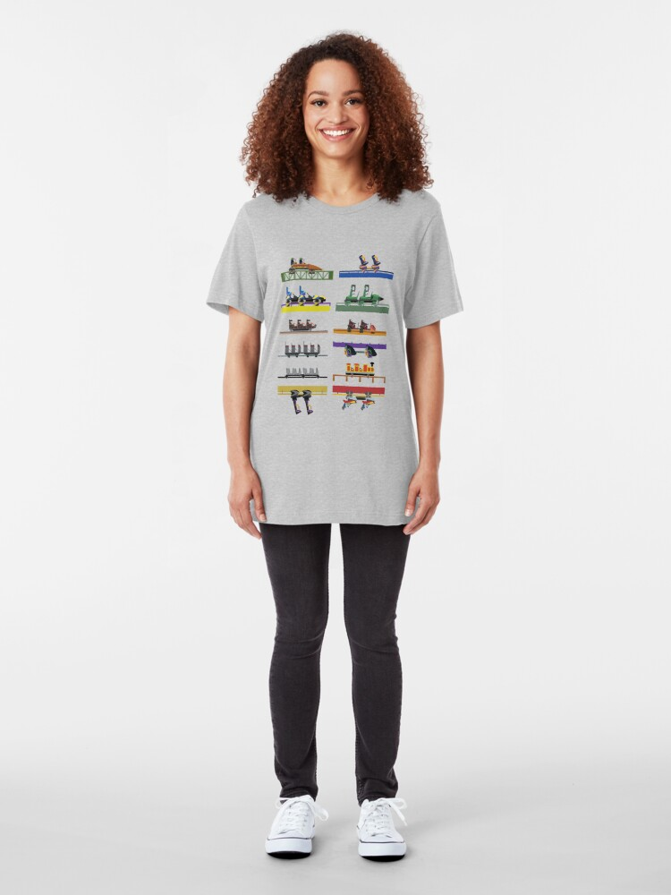 Alternate view of Six Flags Great Adventure Coaster Cars Design (With Jersey Devil) Slim Fit T-Shirt