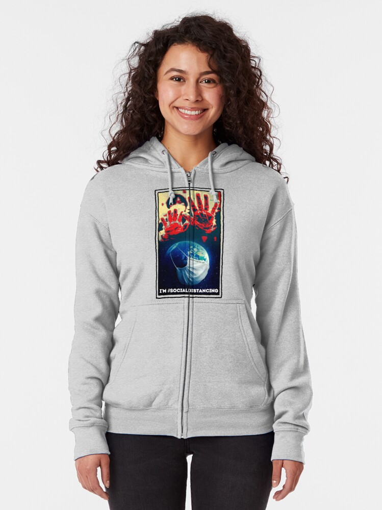 Alternate view of I'm Social Distancing  Zipped Hoodie