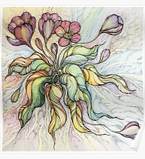 Bridal Bouquet.Hand drawn watercolor and ink drawing Poster