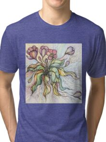 Bridal Bouquet.Hand drawn watercolor and ink drawing Tri-blend T-Shirt