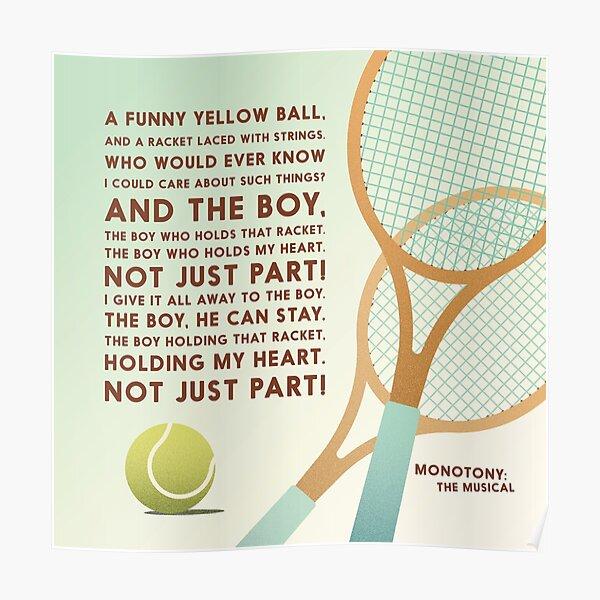Tennis Song Lyric Art Poster