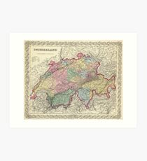 Vintage Map of Switzerland (1856) Art Print