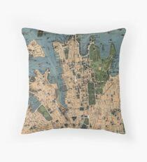 Vintage Map of Sydney Australia (1922) Throw Pillow