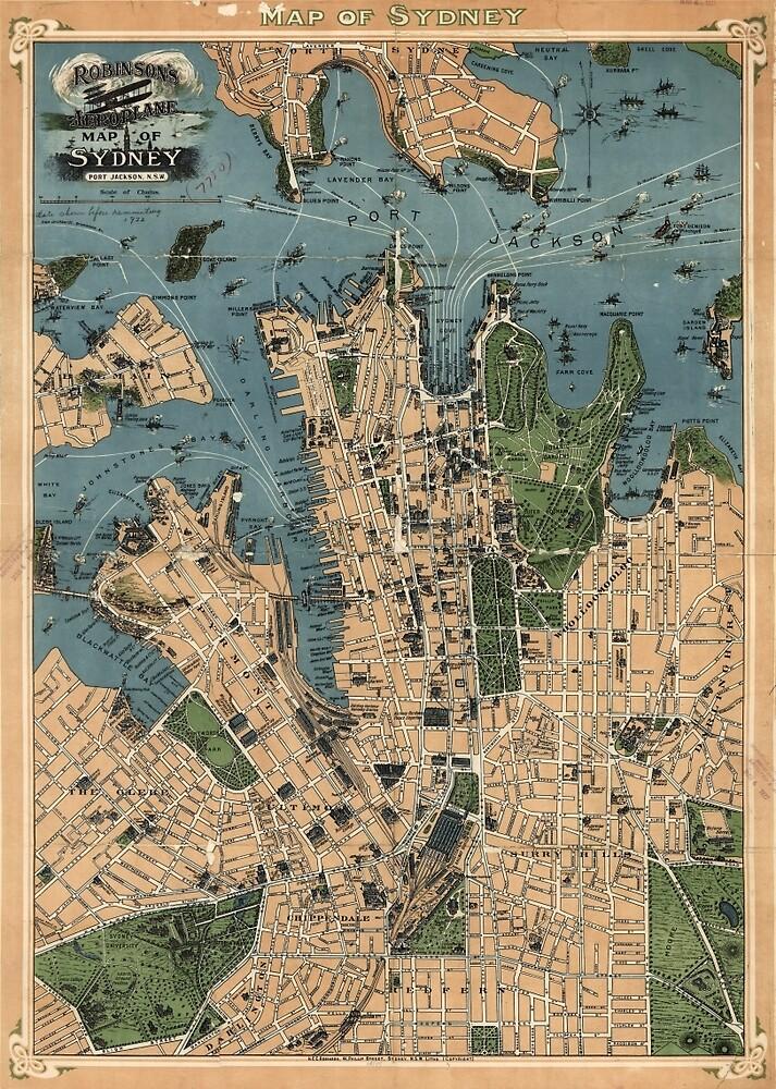 Vintage Map of Sydney Australia (1922) by BravuraMedia