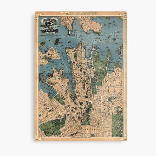 Vintage Map of Sydney Australia (1922) Metal Print