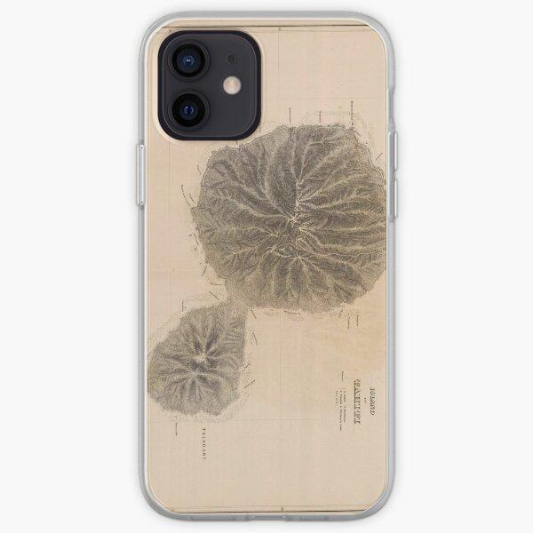 Carte Vintage de Tahiti (1845) Coque souple iPhone